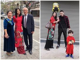 Dàn hot-face Việt xúng xính áo dài đỏ nổi bật xuống phố ngày đầu năm