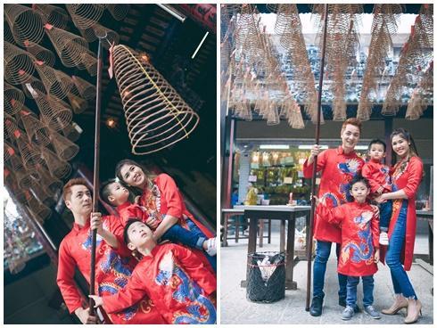 Gia đình Đăng Khôi hạnh phúc đi chùa đầu năm