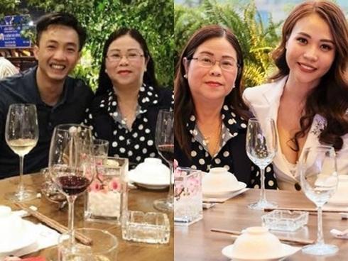Cường 'Đô La' thân thiết với mẹ Đàm Thu Trang trong bữa tiệc gia đình