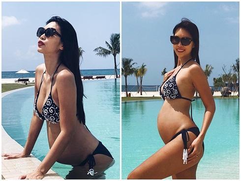 Diện bikini gợi cảm, Hà Anh lần đầu khoe trọn bụng bầu 5 tháng