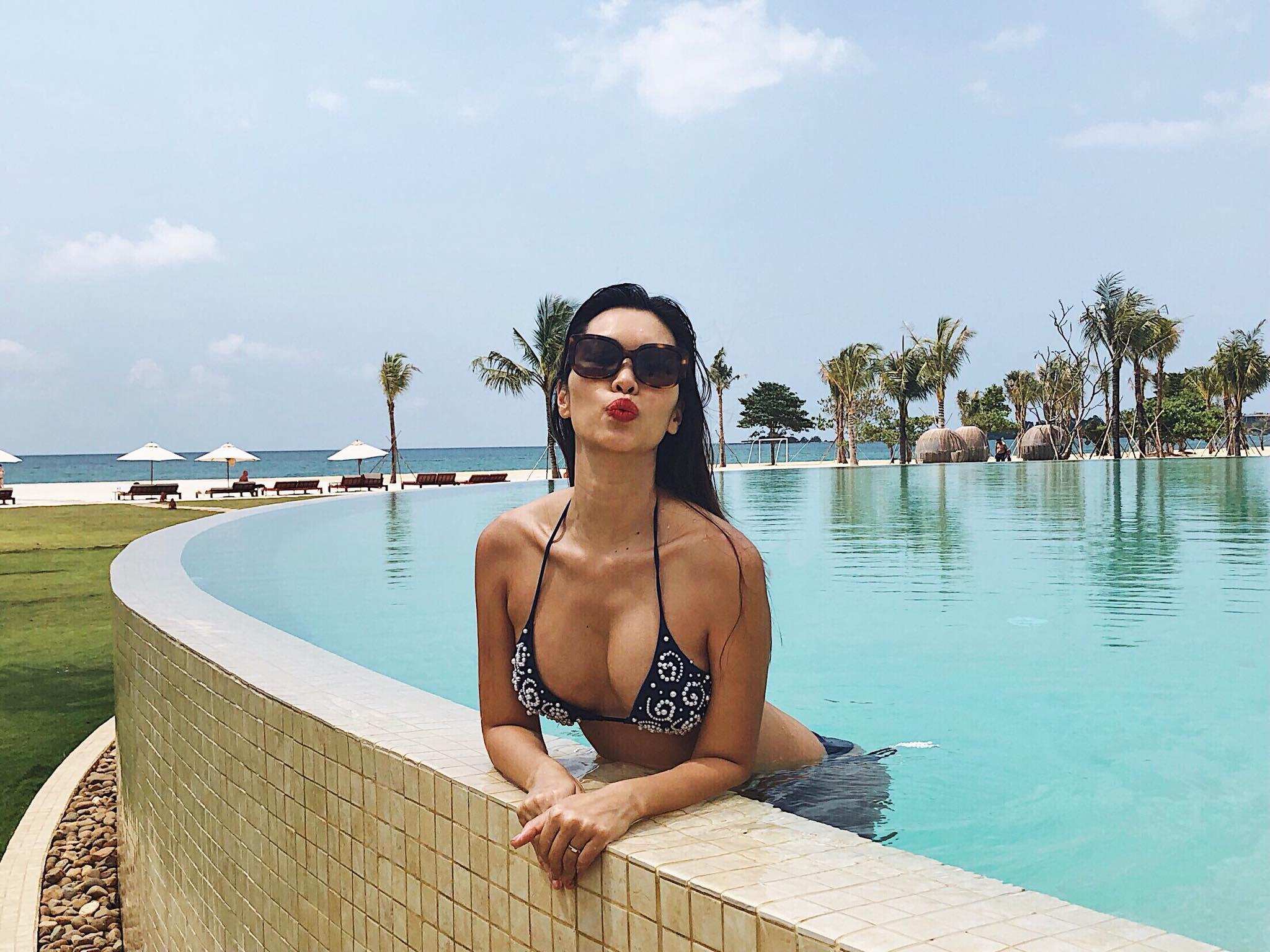 Diện bikini gợi cảm, Hà Anh lần đầu khoe trọn bụng bầu 5 tháng-4
