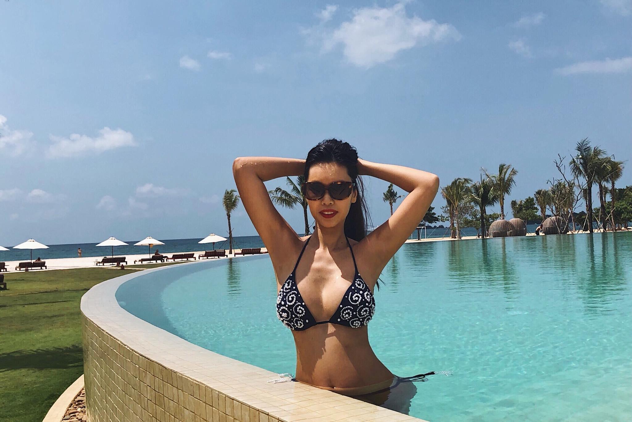 Diện bikini gợi cảm, Hà Anh lần đầu khoe trọn bụng bầu 5 tháng-5