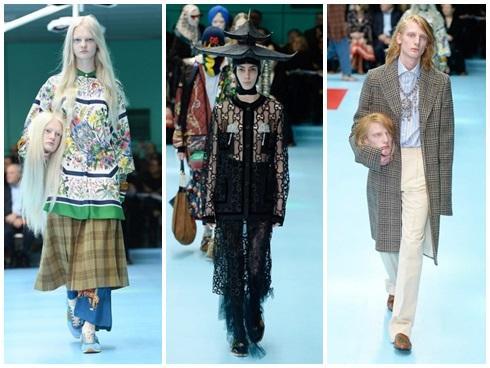 Người mẫu của Gucci đem đầu người, để ngực trần trên sàn diễn London Fashion Week