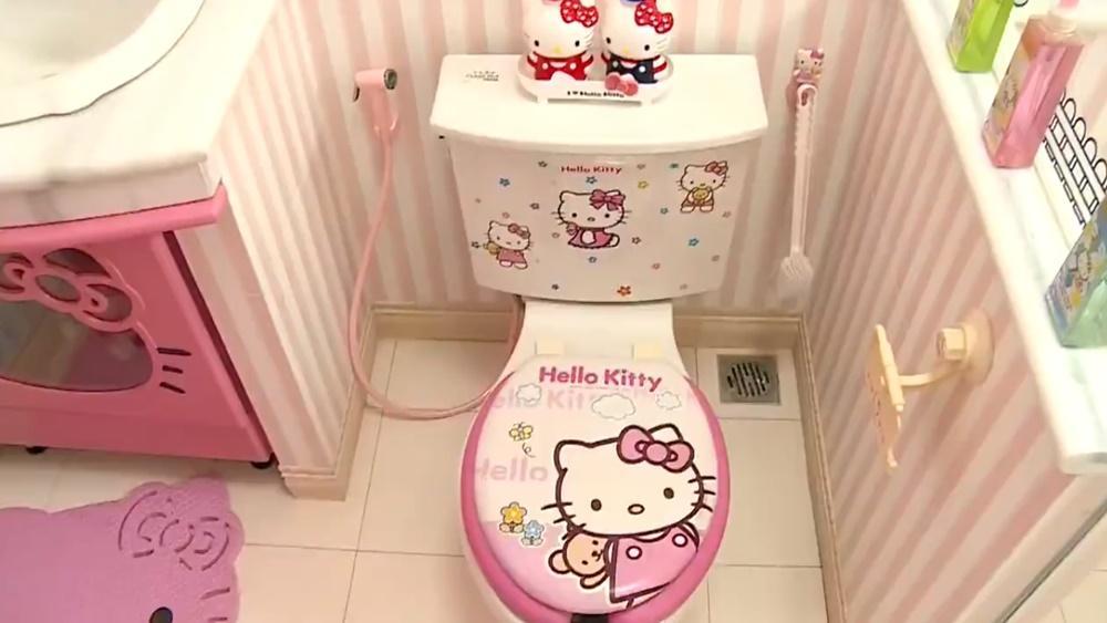 Wc được Trang Trí Từ A đến Z Hình Tượng Mèo Hello Kitty