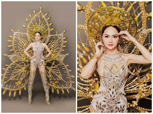 Cận cảnh bộ trang phục dân tộc nặng 55 kg của Hương Giang tại Hoa hậu Chuyển giới Thế giới