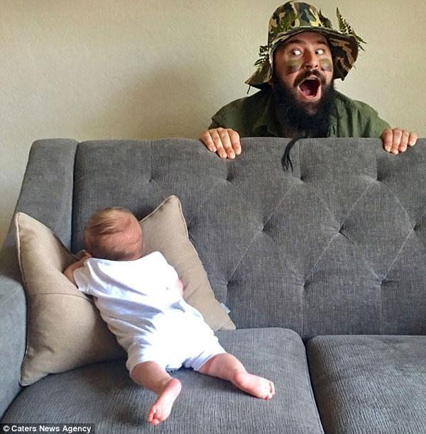 Không nhịn được cười bộ ảnh cha con siêu ngộ nghĩnh-1