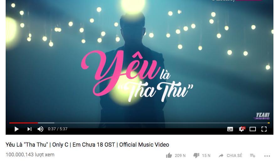 Yêu là tha thu trở thành MV nhạc phim thứ hai cán mốc trăm triệu lượt xem trên Youtube-1