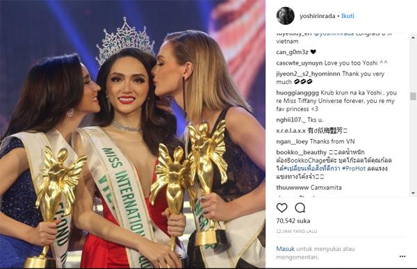 Á Hậu nước chủ nhà Thái Lan Yoshi Rinrada chúc mừng tân hoa hậu Hương Giang Idol-1