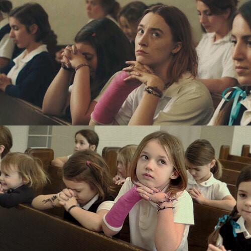 Loạt ảnh nhái cảnh nổi tiếng trong phim đoạt Oscar của 3 cô bé-2