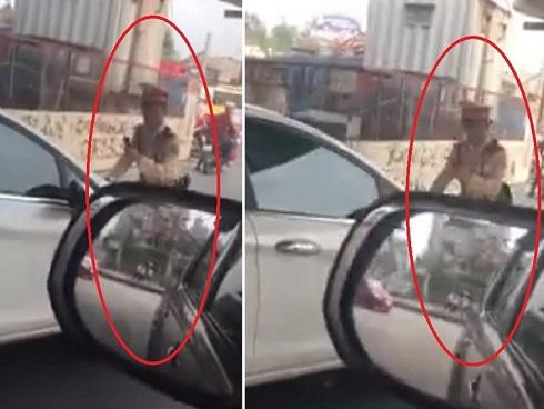 Nữ tài xế vượt đèn đỏ, húc xe thẳng vào cảnh sát giao thông