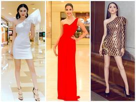 Hoàng Thùy - Hương Giang Idol cùng mặc váy lệch vai đứng đầu thảm đỏ đẹp xuất sắc tuần qua