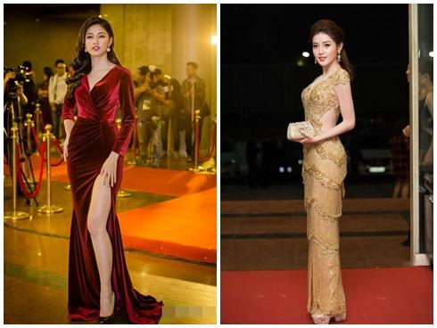 Huyền My - Thanh Tú lộng lẫy trên thảm đỏ Cống Hiến 2018