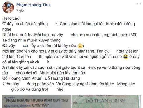 Cặp vợ chồng tên lạ: Phạm Hoàng Trung Kính Quý Thư và Đỗ Thanh Bush