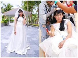 Hóa thân thành cô dâu xinh đẹp, Hoài Lâm ngã 'sấp mặt' vì đi giày cao gót