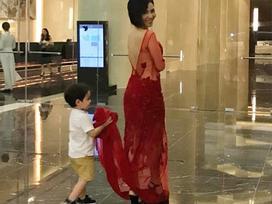 Thu Minh mang theo 'hoàng tử bé' ra tận thủ đô chạy show