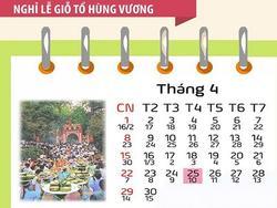Lịch nghỉ Giỗ Tổ Hùng Vương, 30/4 và 1/5