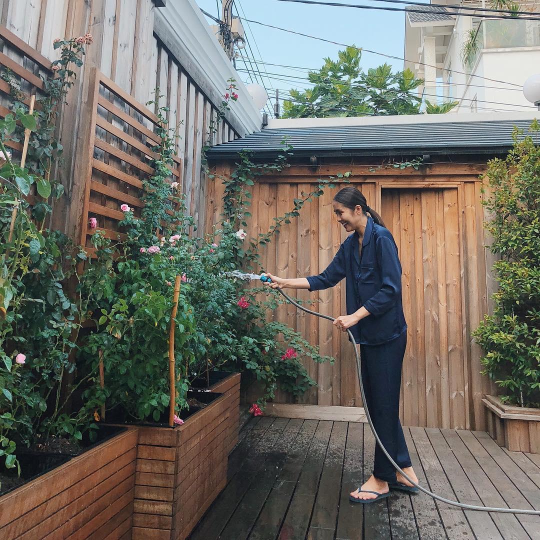 Tăng Thanh Hà chăm sóc hoa