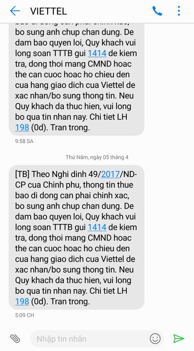 Khách hàng liên tiếp nhận được tin nhắn có cùng nội dung từ Viettel trong nhiều ngày liền. (Ảnh: Zing)