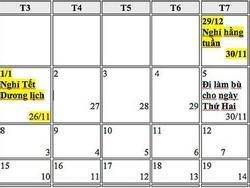 Đề xuất hoán đổi ngày nghỉ Tết Dương lịch, nghỉ Lễ 30/4 và 1/5 năm 2019