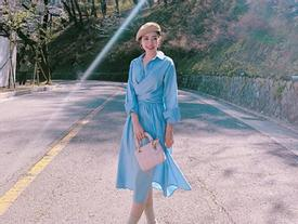 Chi Pu ngắm con đường hoa anh đào đẹp ngất ngây ở Hàn Quốc