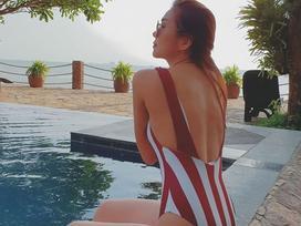 Tin sao Việt: Trời quá nắng nóng, Thanh Hằng mặc bikini phô diễn hình thể quyến rũ