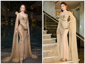 Hoa hậu Hương Giang đụng váy rồng tuyệt đẹp với Á hậu Huyền My