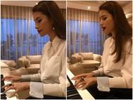 Clip: Hoa hậu Phạm Hương vừa đàn vừa hát quá hay khiến fan trầm trồ