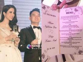 Tiết lộ thực đơn tiệc cưới sang trọng của Diệp Lâm Anh và chồng đại gia 9x