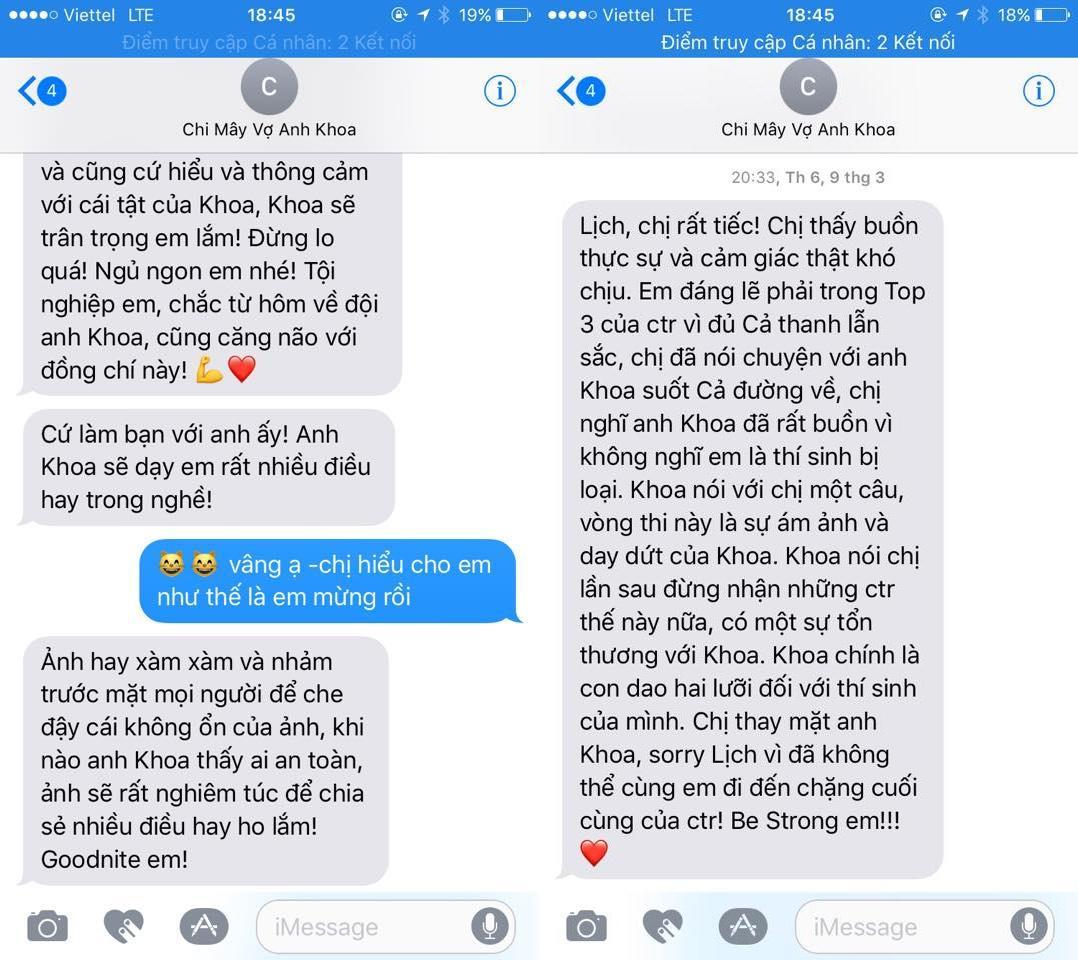 Những tin nhắn được cho là giữa Phạm Anh Khoa và Phạm Lịch 789