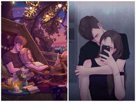 Bộ tranh ghi lại khoảnh khắc ngọt ngào của những cặp đôi đang yêu