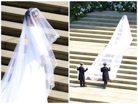 Khác với dự đoán về trang phục cưới xa hoa, tân Công nương Anh chọn váy cưới dài hơn chục mét của Givenchy