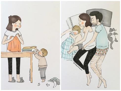 Tranh vẽ tình huống hài hước chỉ gia đình có con nhỏ mới hiểu