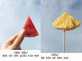 Dân mạng rần rần chia sẻ loạt ảnh 'thả thính' bằng các loại trái cây của gái xinh Sài thành