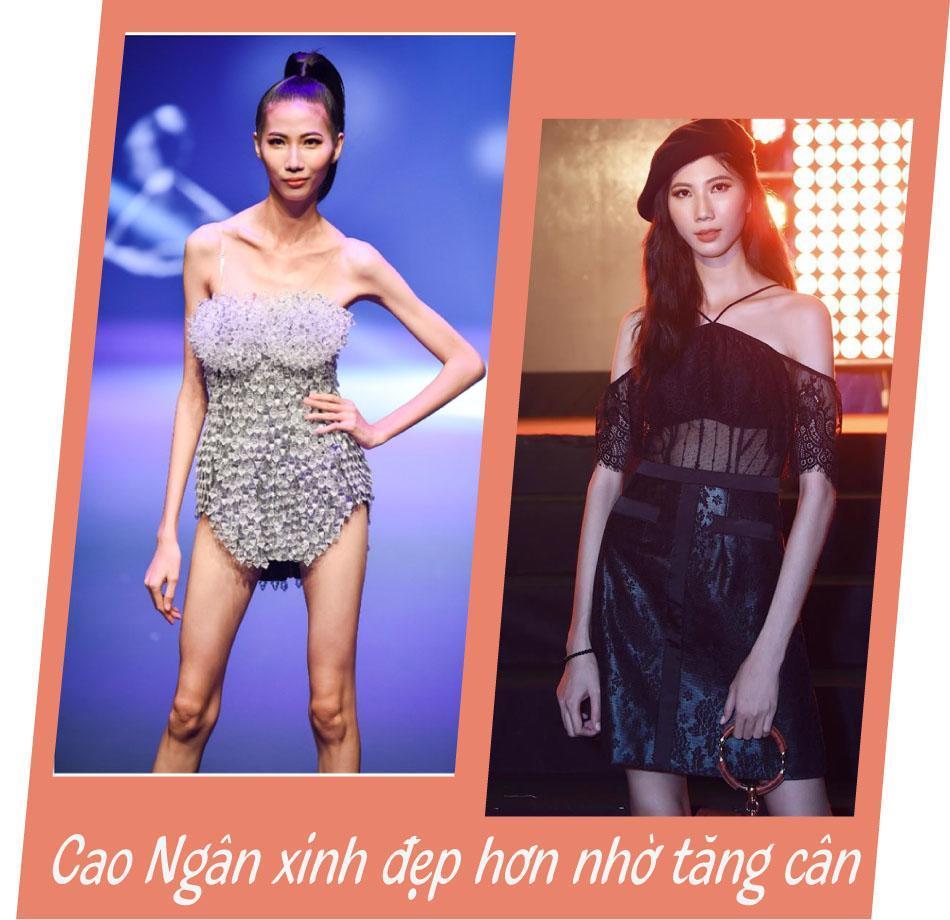 Cao Ngân từng nhận nhiều bình luận tiêu cực khi xuất hiện với hình ảnh gầy guộc trong đêm chung kết Vietnam\u0027s Next Top Model All Stars.