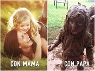 Sự khác biệt 'một trời một vực' giữa bố và mẹ khi trông con