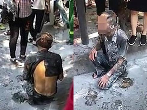 Nhiều người hoảng hốt khi người đàn ông tẩm xăng tự thiêu giữa phố