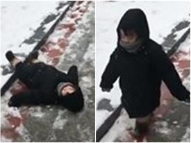 Cười ngất với em bé liên tục bị trơn, trượt trong tuyết