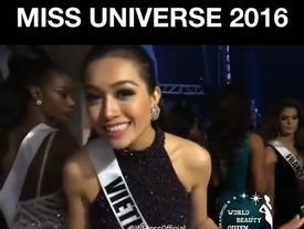 Không hiểu câu hỏi tiếng Anh tại Miss Universe 2016, Lệ Hằng hồn nhiên đáp lại bằng tiếng Việt: 'Cái gì?'