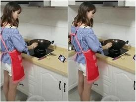 Gái xinh học đòi 'gái đảm' vào bếp nấu ăn và cái kết