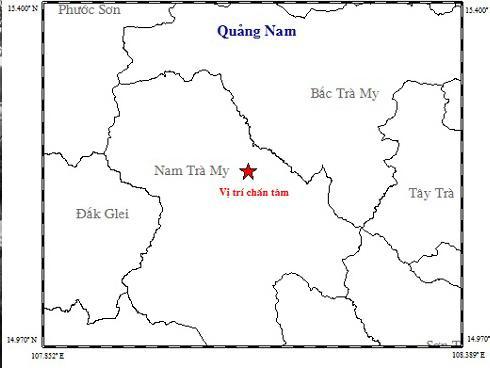 Liên tiếp xảy ra 2 trận động đất gây rung lắc ở huyện miền núi tỉnh Quảng Nam
