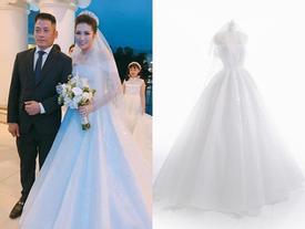 Ngắm cận cảnh bộ váy cưới đính hơn 20.000 viên pha lê sáng rực rỡ của Á hậu Tú Anh
