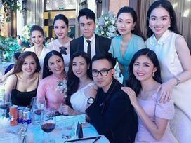 Dàn hậu Việt đồng loạt váy áo rực rỡ tới dự hôn lễ cổ tích của Á hậu Tú Anh