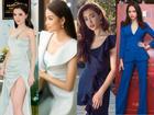 Cùng diện trang phục màu xanh nhưng Bích Phương lại 'đè bẹp' nhan sắc các hoa hậu với đôi chân dài trắng mượt
