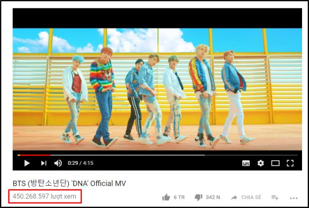 Nhờ DNA, BTS chính thức trở thành nhóm nhạc Kpop đầu tiên có MV vượt mốc 450 triệu lượt xem-1