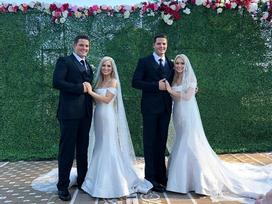 Đám cưới hai cặp song sinh khiến dân tình hoang mang không phân biệt nổi cô dâu, chú rể