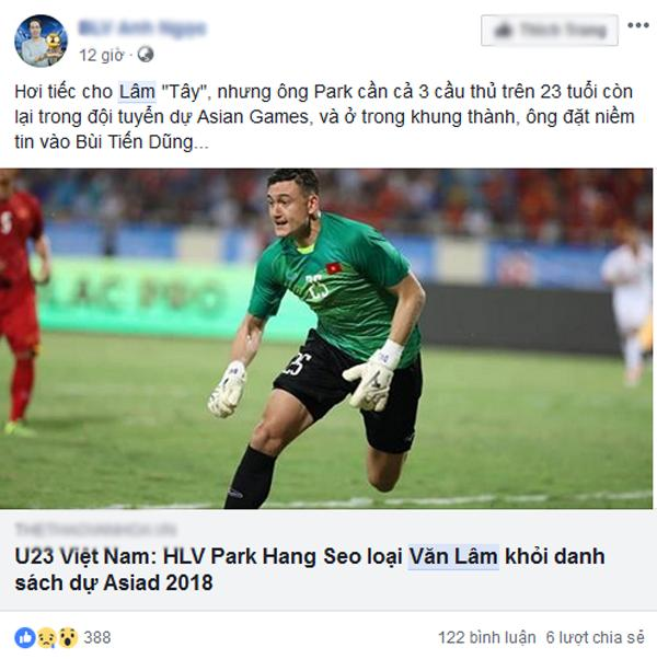 Thủ môn Văn Lâm bị loại khỏi danh sách U23 Việt Nam tham dự ASIAD 2018 khiến dân mạng tranh cãi-5