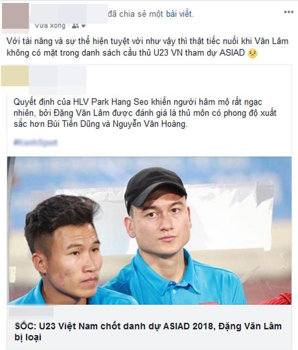 Thủ môn Văn Lâm bị loại khỏi danh sách U23 Việt Nam tham dự ASIAD 2018 khiến dân mạng tranh cãi-9