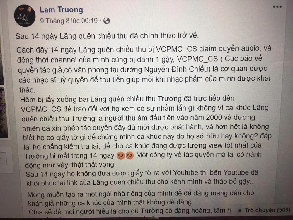 Lam Trường bức xúc khi ca khúc bản quyền bị gỡ khỏi Youtube với lí do lãng xẹt-2