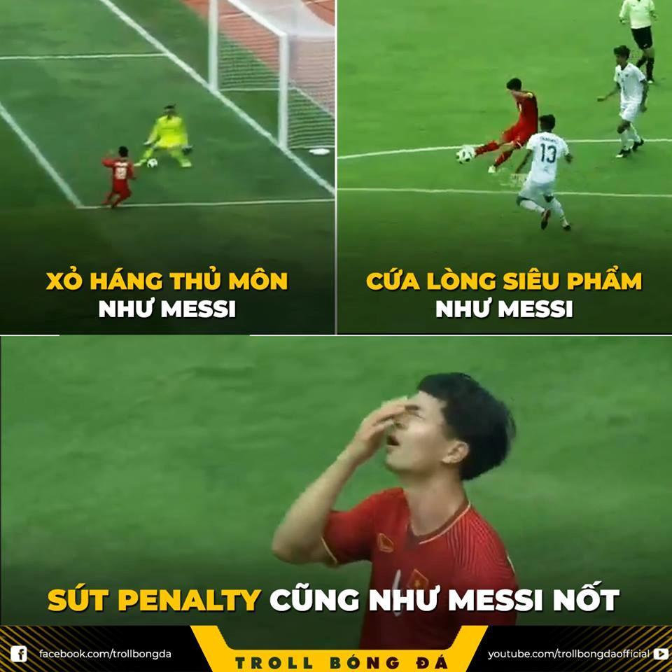 Ảnh chế Messi trao vương miện trượt penalty cho Công Phượng-1