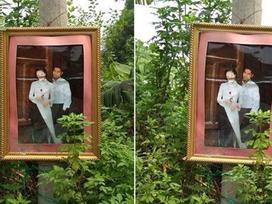 Dân tình khiếp sợ bức ảnh cưới được treo trên cột điện trong tháng cô hồn